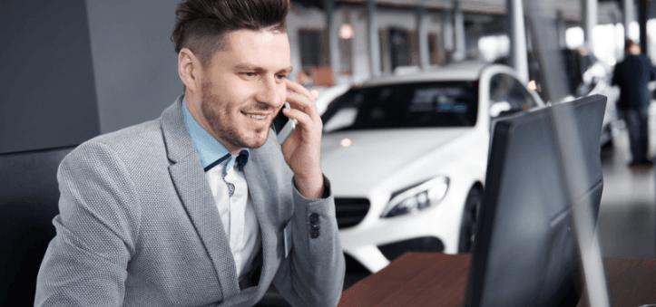 Sales rep on phone