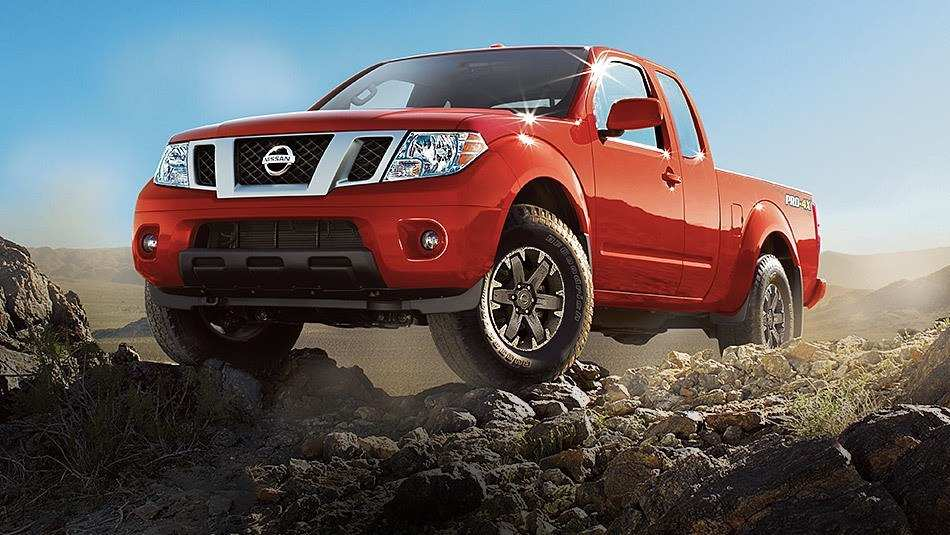 nissan piclup on rocks