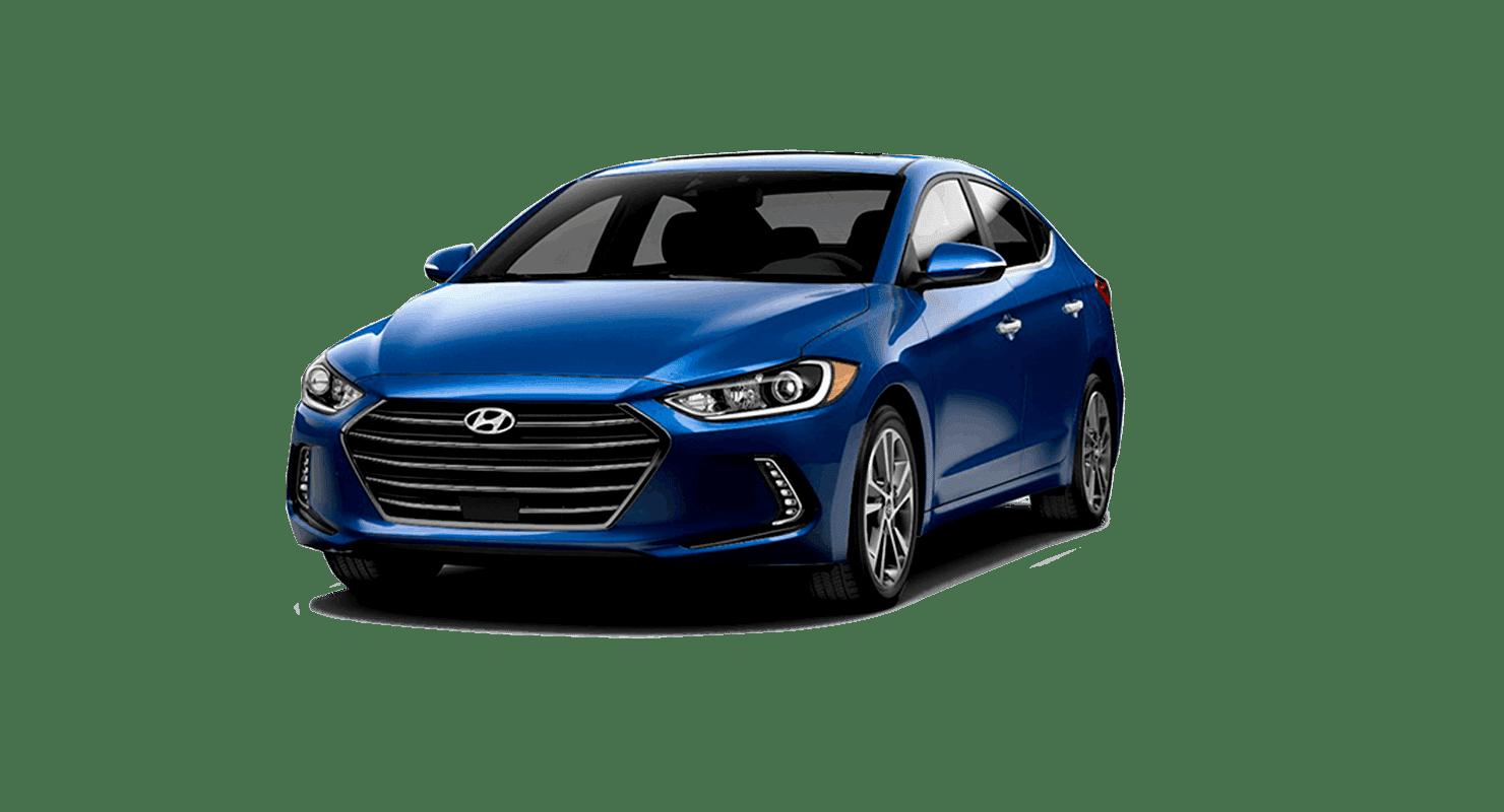 A blue Hyundai Elantra
