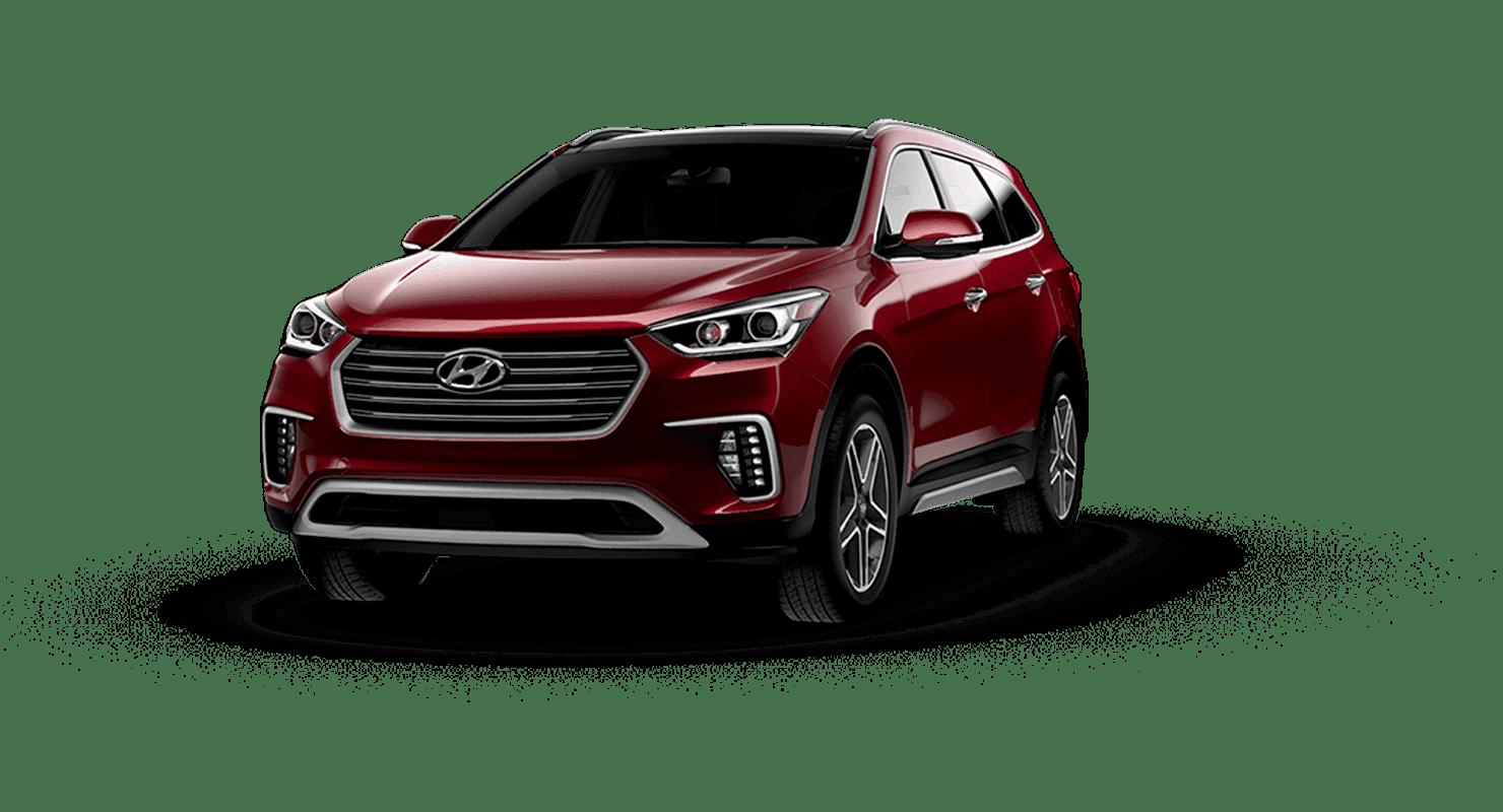 A dark red Hyundai Santa Fe