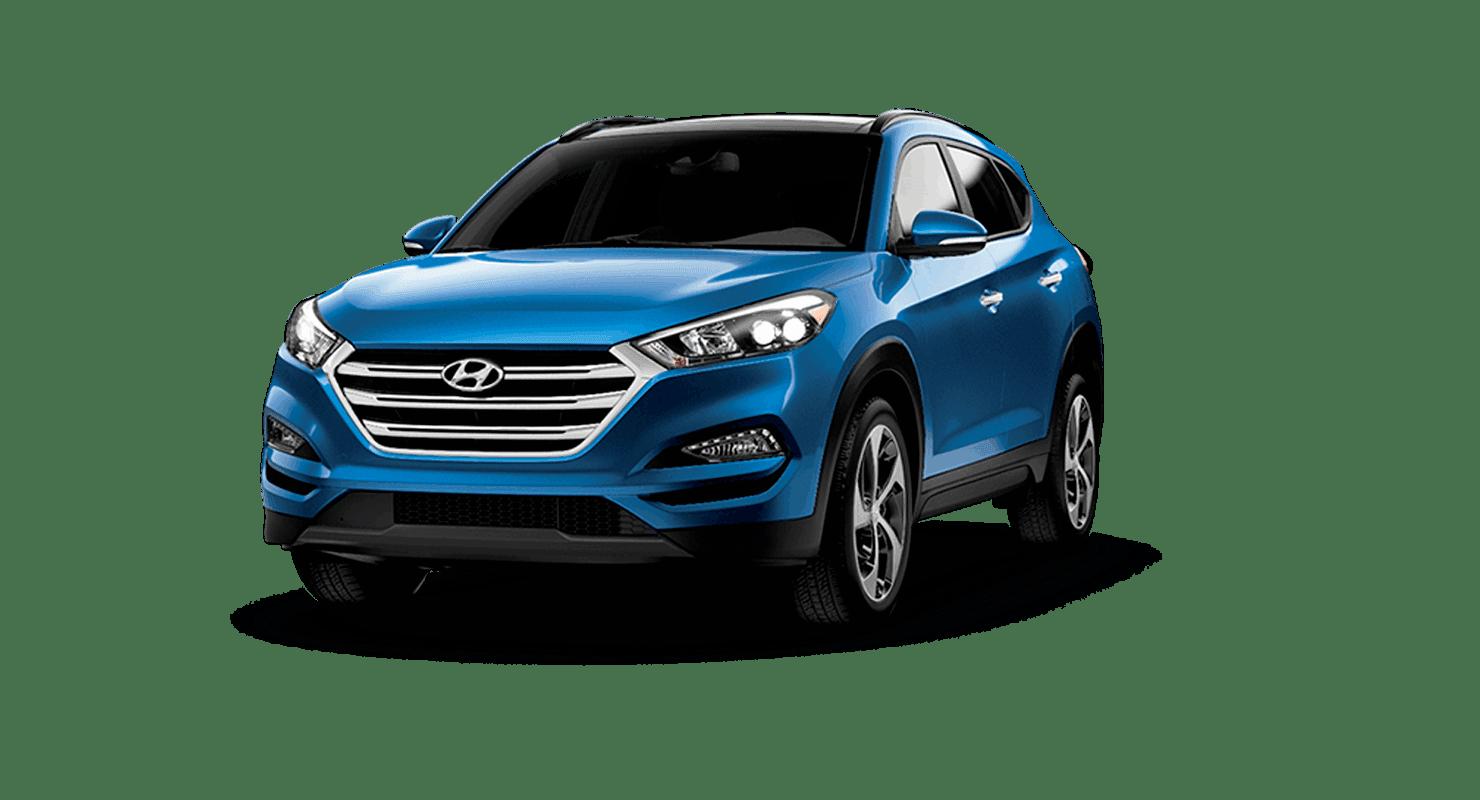 An electric blue Hyundai Tucson