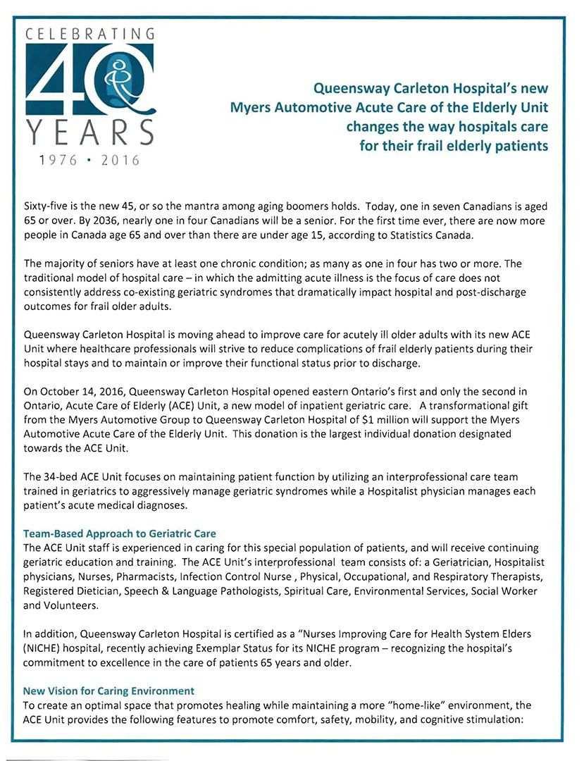 Myers Automotive ACE Unit Announcment