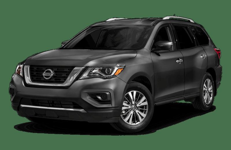 A dark gray Nissan Pathfinder