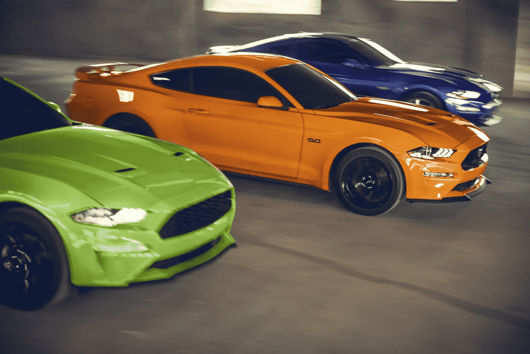 Ford Mustangs in three different trims